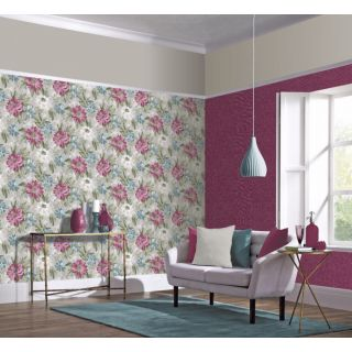 Arthouse Painted Dahlia Raspberry & Teal Blue Floral Wallpaper - 676107