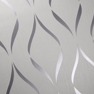 Muriva Indra Wave Geometric White & Silver Wallpaper - 154111