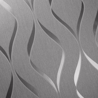 Muriva Indra Wave Geometric Grey & Silver Wallpaper - 154112