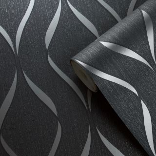 Muriva Indra Wave Geometric Charcoal & Silver Wallpaper - 154113