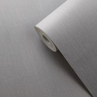 Muriva Indra Texture Plain Grey & Silver Wallpaper - 154122