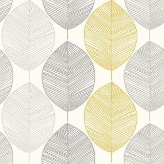 Arthouse Scandi Leaf Wallpaper - Yellow Grey Glitter Retro Style