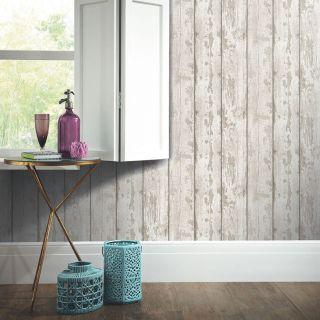 Arthouse White Washed Wood Wallpaper 694700 Wood Panel Cladding Timber Beige