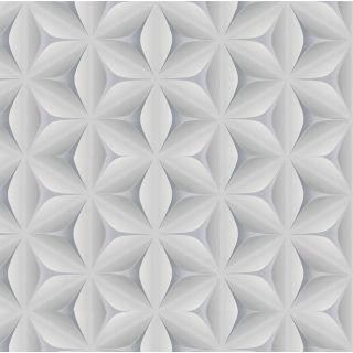 3D Geometric Wallpaper Retro Vintage Abstract Embossed Flower Grey White