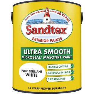 Sandtex Ultra Smooth Masonry Paint Pure Brilliant White 5L