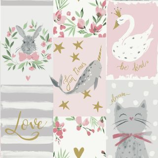 Belgravia Décor Blush Pink Be Kind Wallpaper 2555 Animals