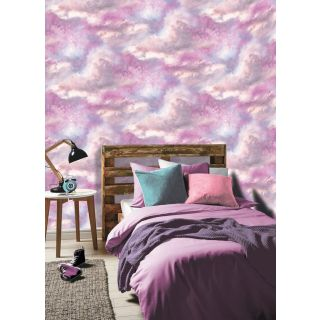 Arthouse Diamond Galaxy Clouds Purple/Blush Vinyl Wallpaper - 260009