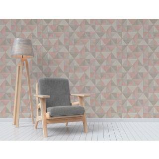 Fine Decor Apex Rose Gold Triangles Wallpaper  Wood Grain Effect FD42224