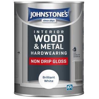 Johnstone's Non Drip Gloss-  Brilliant White - 1.25 Litre