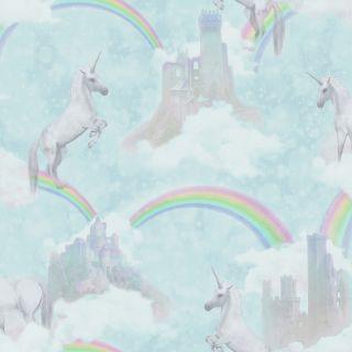 Holden Decor Unicorns Rainbow Wallpaper Sparkle Glitter KIds Soft Teal Wallpaper - 12481