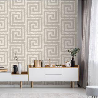 Debona Athena Greek Key Marble Cream Wallpaper - Greek Key 4019