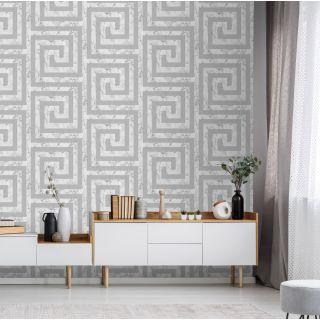 Debona Athena Greek Key Marble White Wallpaper - Greek Key 4020