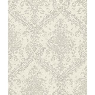 Shimmering Damask - Pale Grey and Silver 420517