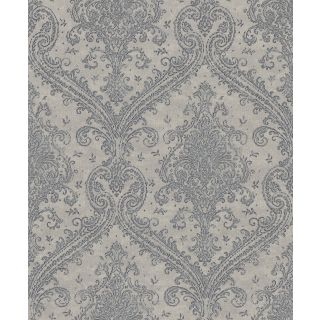 Shimmering Damask - Grey And Pewter 420548