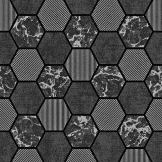 Fine Decor Kitchen/Bathroom Glitter Hex Wallpaper - Charcoal/Silver FD42414