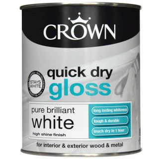 Crown Quick Dry Gloss Paint - Pure Brilliant White 750ml