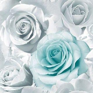 Muriva Madison Rose Floral Aqua Blue Glitter Wallpaper 139523 - Feature Wall