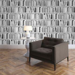 Wallpaper Muriva - Fashion Library Bookshelf - Spakle - Silver - 139502