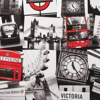 Fresco London Montage Black / Red  Wallpaper - 10514
