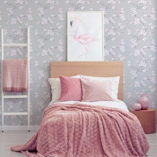 Fresco Apple Blossom Grey Wallpaper - 51-057