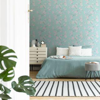 Fresco Apple Blossom Blue Wallpaper - 51-066