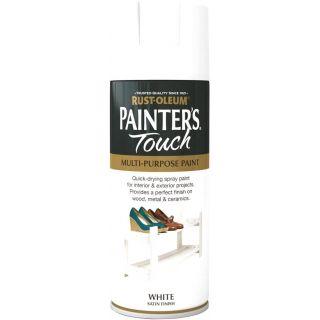 Painter's Touch Rust-Oleum Multi-Purpose Aerosol Spray Paint - White Satin 400ml