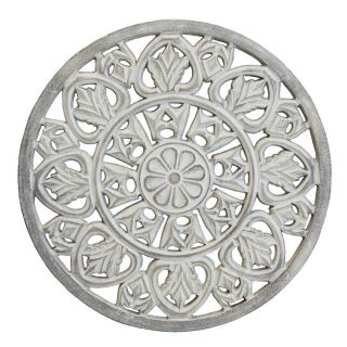 White Washed Wooden Medallion 6 in - 5218