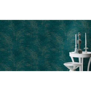 Distressed Palm - Teal/Gold 546637