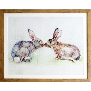 Kissing Rabbits Framed Print 6 in - 5527