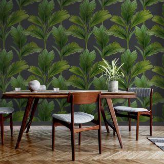 Belgravia Decor Kailani Palm Leaves Charcoal/Green Wallpaper - 59115