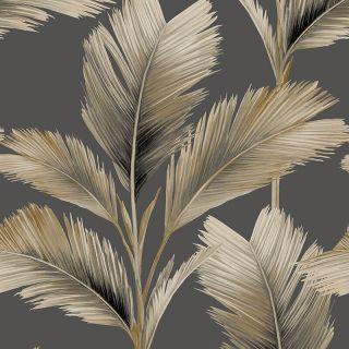 Belgravia Decor Kailani Palm Leaves Charcoal/Natural Wallpaper - 59116