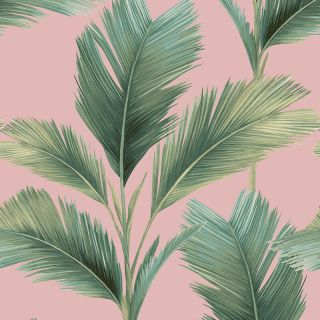 Belgravia Decor Kailani Palm Leaves Green/Blush Pink Wallpaper - 59117