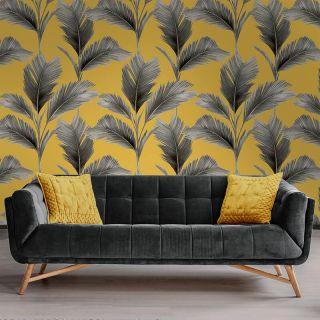 Belgravia Decor Kailani Palm Leaves Yellow Wallpaper - 59118