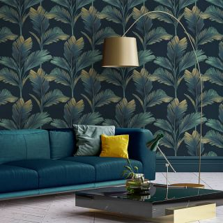 Belgravia Decor Kailani Palm Leaves Dark Blue Wallpaper - 59119