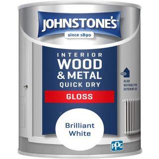 Johnstone's Quick Dry Gloss-  Brilliant White - 1.25 Litre