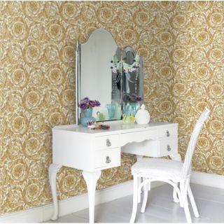 Versace Barocco Butter Fudge Gold White Wallpaper