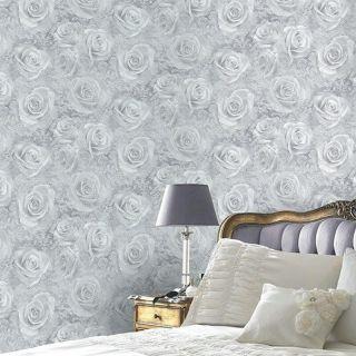 Arthouse Luxury Reverie Rose Blush Silver Motif Floral Wallpaper 623303 Grey