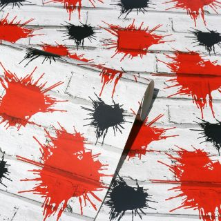 Arthouse Kids White Brick Red Black Paint Splatter Dennis the Menace Wallpaper 662401