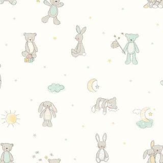Bear Hugs Mint 667400 Kids Nursery Wallpaper