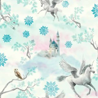 Fairy tale Ice Blue 667800 Unicorn Wallpaper