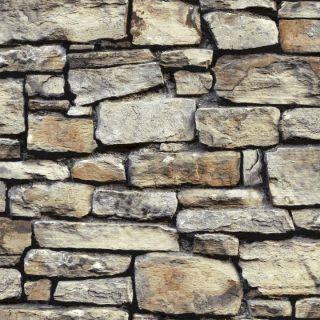 Arthouse Cornish Stone Brown Brickwork Wallpaper 668900