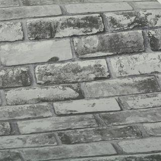 Slate Grey Realistic Brick Wall Faux Wallpaper 3D Effect Rustic Feature 6753