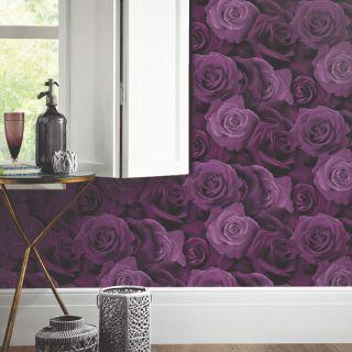 Austin Purple Roses Wallpaper Flower Floral Heavyweight Modern Arthouse 675601