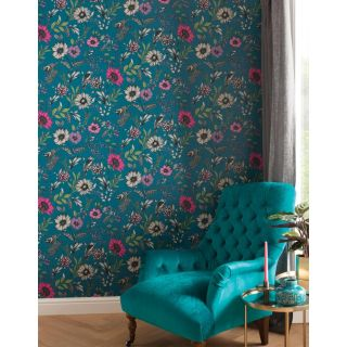Arthouse Botanical Songbird Teal Multi Wallpaper - Floral leafs Birds 676001