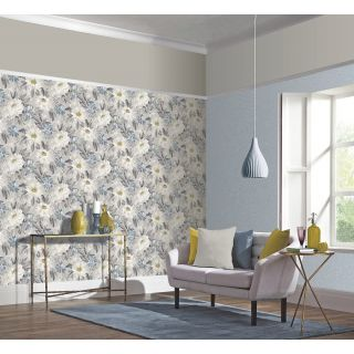 Arthouse Painted Dahlia Grey & Blue Floral Wallpaper - 676105