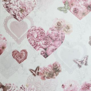 Floral Hearts Pink & White 692802