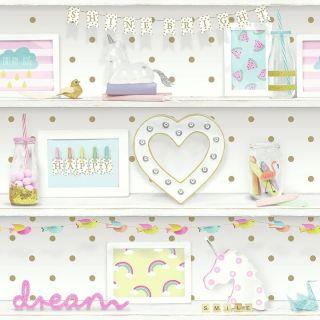 Girl's Life 696004 Bookshelf Wallpaper