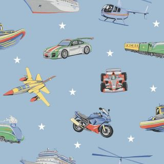 Zoom Away Blue 696203 Retro Vehicles Kids Wallpaper