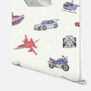 Zoom Away Red/Blue 696204 Retro Vehicles Kids Wallpaper