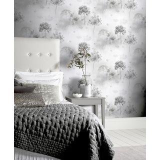 Arthouse Spring Meadow Mono Wallpaper - Grey Leaf Flower Design